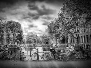 Amsterdam Gentlemens Canal Typical Cityscape In Monochrome by Melanie Viola