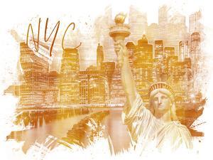 Golden Art Manhattan Collage by Melanie Viola