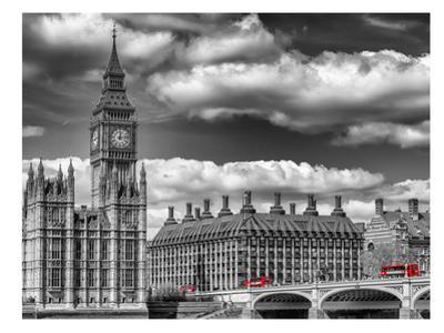London Big Ben & Red Bus by Melanie Viola