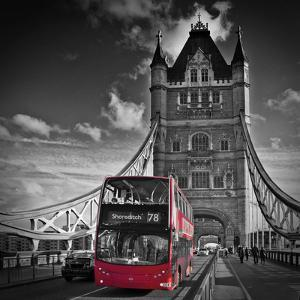 London Tower Bridge & Red Bus by Melanie Viola