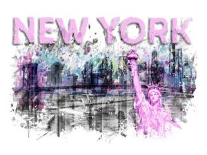 Modern Art New York City Skyline Splashes Pink by Melanie Viola