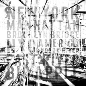 Nyc Brooklyn Bridge Typography No2 by Melanie Viola
