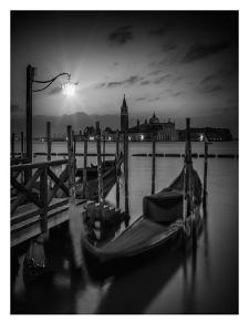 Venice Gondolas At Sunrise - Monochrome by Melanie Viola
