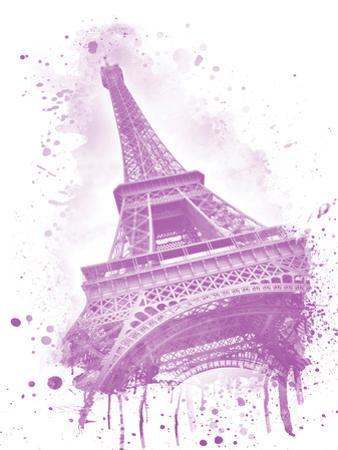 Watercolor Eiffel Tower Pink by Melanie Viola