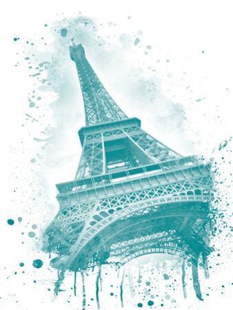 Watercolor Eiffel Tower Turquoise by Melanie Viola