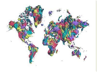 World Map White Splashes by Melanie Viola