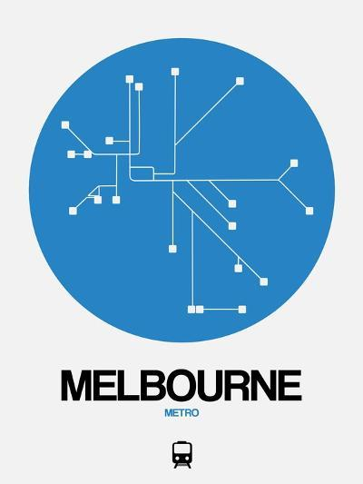 Melbourne Blue Subway Map-NaxArt-Art Print