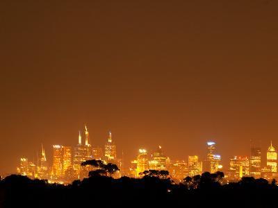Melbourne CBD at Night, Victoria, Australia-David Wall-Photographic Print