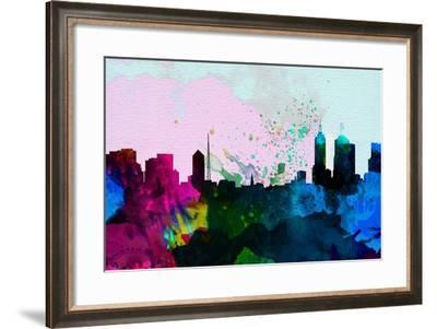 Melbourne City Skyline-NaxArt-Framed Art Print