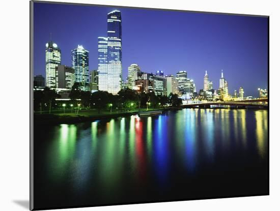 Melbourne Skyline at Night-Design Pics Inc-Mounted Photographic Print
