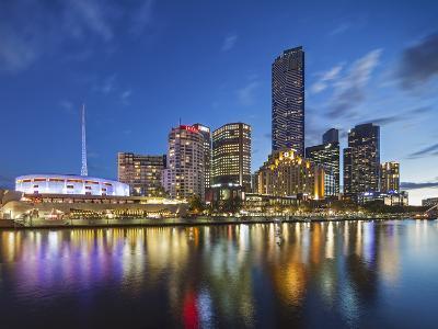 Melbourne Southbank Skyline, Eureka Tower and Hamer Hall over the Yarra River at Twilight-Cahir Davitt-Photographic Print