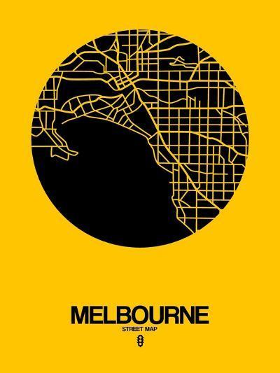 Melbourne Street Map Yellow-NaxArt-Art Print