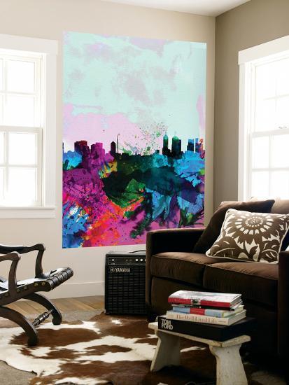 Melbourne Watercolor Skyline-NaxArt-Wall Mural