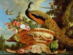 A Peacock on a Decorative Urn by Melchior de Hondecoeter