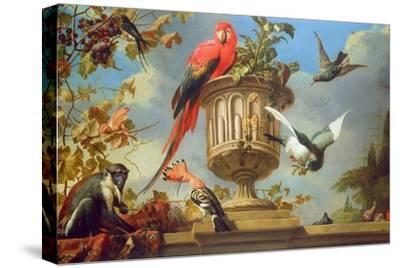 Scarlet Macaw Perched on an Urn, with Other Birds and a Monkey Eating Grapes