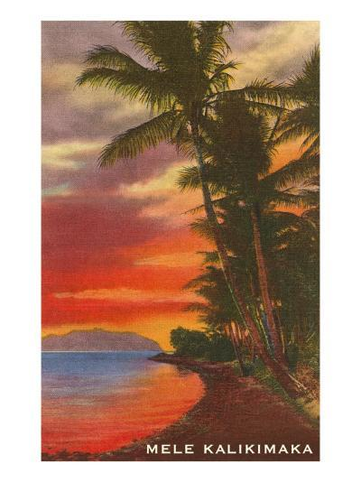Mele Kalikimaka, Sunset on Lagoon--Art Print