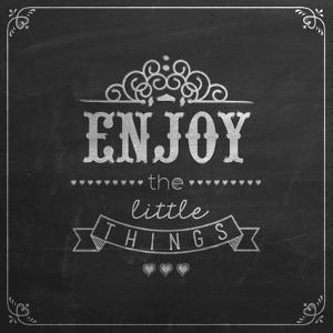 Enjoy the Little Things Quote Typographical Background on Blackboard with Chalk by Melindula