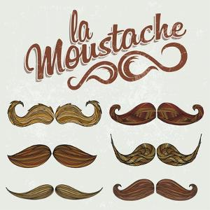 Hand Drawn Brown Mustache Set by Melindula