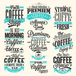 Set Of Vintage Retro Coffee Labels by Melindula