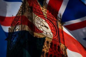 Union Jack Flag and Iconic Big Ben at the Palace of Westminster, London - the UK Prepares for New E by melis
