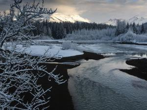 A storm clears along the Mendenhall River after a morning snow by Melissa Farlow