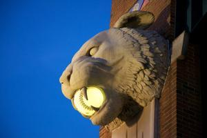 A Tiger Head Light on the Outside of the Comerica Park Building by Melissa Farlow