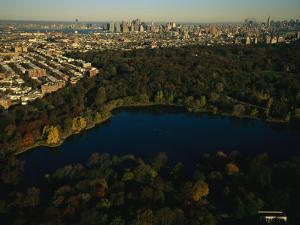 Aerial of Prospect Park with the Manhattan Skyline in the Distance by Melissa Farlow