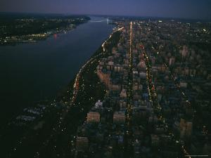 Aerial View of Manhattan at Dusk by Melissa Farlow