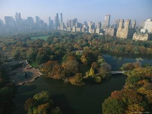 Central Park's Bethesda Fountain and the Manhattan Skyline by Melissa Farlow
