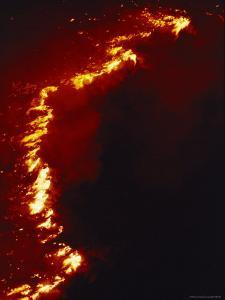 Flames Leap High as a Wildfire Spreads Along a Ridge Line by Melissa Farlow