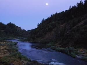 The Moon Appears over the Rogue River by Melissa Farlow