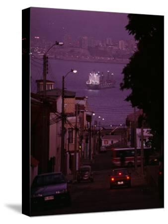 Twilight View of Valparaiso Harbor with Cargo Ship, and Skyline