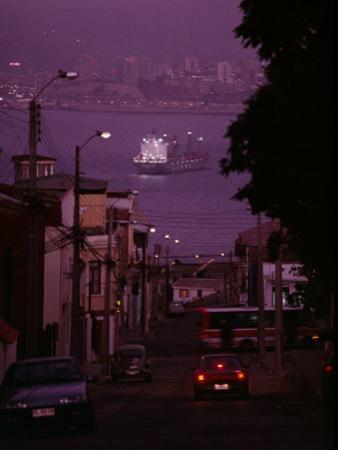 Twilight View of Valparaiso Harbor with Cargo Ship, and Skyline