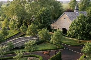 View of barn and grounds of Ashford Stud, a prestigious horse farm. by Melissa Farlow