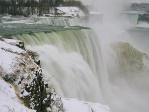 Winter View of Cascading Niagara Falls by Melissa Farlow