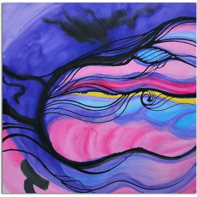 Melodic Indigo--Hand Painted Art