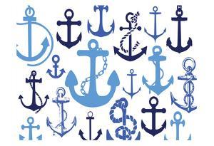 Anchor Blues 1 by Melody Hogan