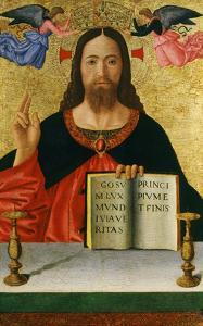 Christ Blessing the World (Inv 19) with Ins Ego Sum Lux Mundi Via Veritas Principium Et Finis by Melozzo da Forlí