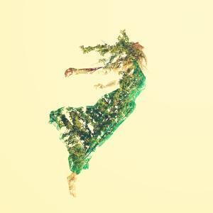 Double Exposure of Woman Flying with Leaves by Melpomene