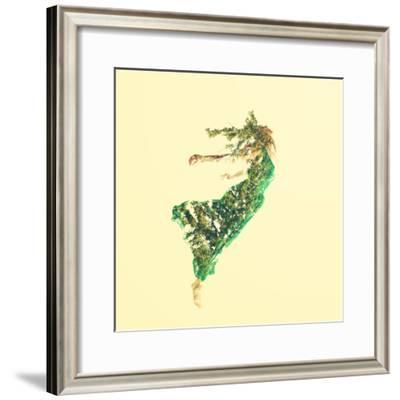 Double Exposure of Woman Flying with Leaves