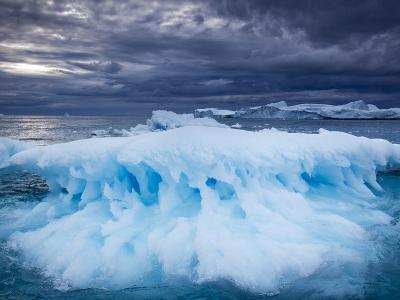 Melting Iceberg Floating Near Face of Jakobshavn Isfjord on Stormy Evening, Ilulissat, Greenland-Paul Souders-Photographic Print