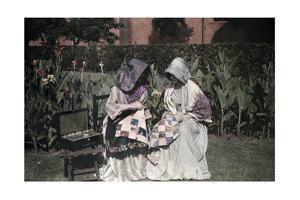 Two Voortrekker Girls Sew in a Pietermaritzburg Garden by Melville Chater