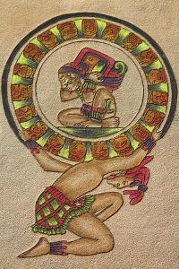 Maya Painting on Leather, Chichen Itza Archaeological Site, Chichen Itza, Yucatan State, Mexico by Melvyn Longhurst