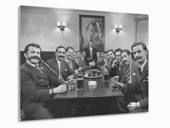 Members of Handlebar Club Sitting at Table and Having Formal Beer Session-Nat Farbman-Metal Print