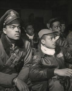 Members of the 332nd Fighter Group Attending a Briefing in Ramitelli, Italy, March, 1945