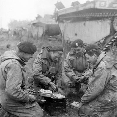 Members of the British 49th Armoured Personnel Carrier Regiment Cooking on the Side of a Road-George Silk-Photographic Print
