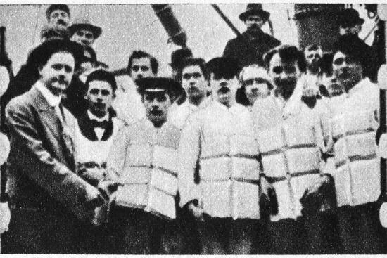 Members of the crew of the Titanic in their life jackets, 1912. Artist: Unknown-Unknown-Photographic Print