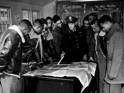 Members of the Famed Tuskegee Airmen Looking at a Flight Map During a Training Class--Photographic Print