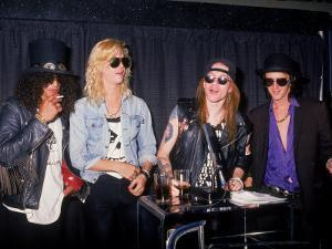Members of the Rock Group Guns N' Roses Slash, Duff Mckagan, Axl Rose and Izzy Stradlin