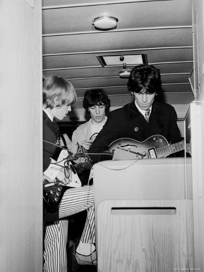 Members of the Rolling Stones Checking Their Instruments Before a Concert at Forest Hills Stadium-Walter Daran-Premium Photographic Print